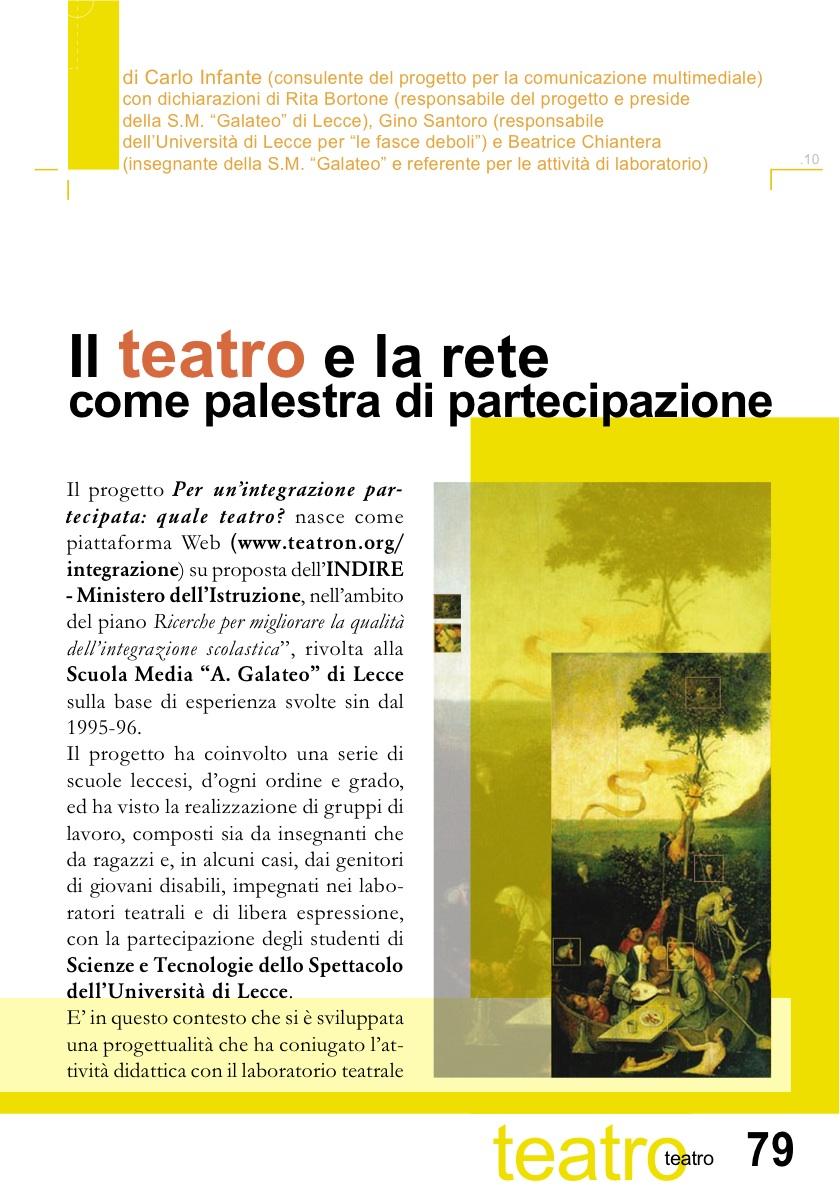 Il teatro e la rete come palestra di partecipazione